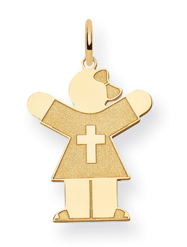 Christian Love Girl Pendant, 14K Yellow Gold