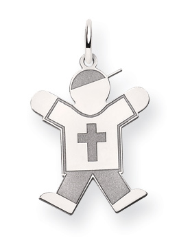 14K White Gold Christian Boy Kid Pendant with Cross