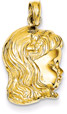 Young Girl Head and Face Pendant, 14K Gold