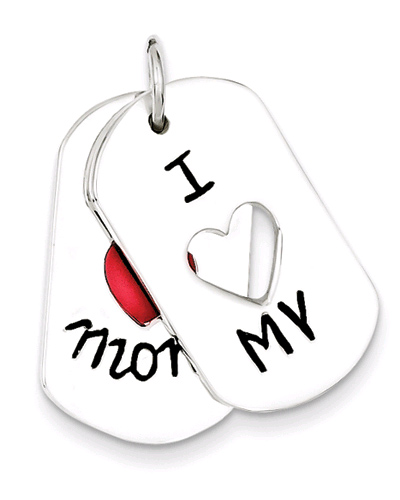 I Love My Mom Two-Piece Dog Tag Pendant in Sterling Silver