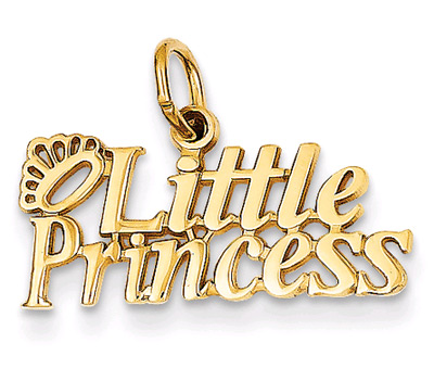 Little Princess Pendant Charm with Tiara in 14K Gold