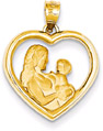 Mother and Baby Heart Pendant in 14K Gold