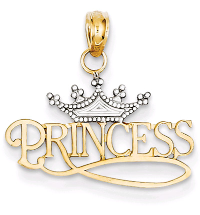 Princess Charm with Crown in 14K Gold