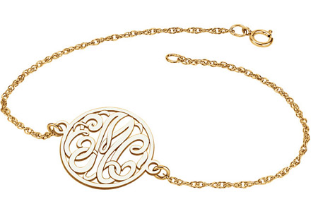 3-Letter Script Monogram Bracelet in Yellow Gold