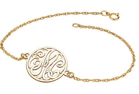 3-Letter Script Monogram Bracelet in Yellow Gold