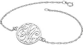 3-Letter Script Silver Monogram Bracelet