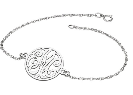 Custom Script Monogram Link Bracelet in White Gold