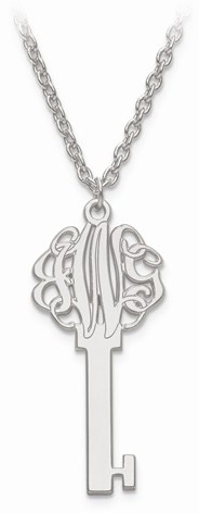 Monogram Custom Key Necklace in Sterling Silver