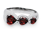 Three Hearts Silver Garnet Ring