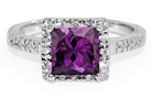 Princess-Cut African Amethyst Silver CZ Ring