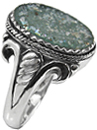 Ancient Antique Roman Glass Ring in Silver