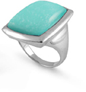 Baguette Turquoise Stone Ring in Sterling Silver