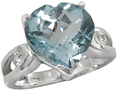Checkerboard Blue Topaz Heart Ring in Silver