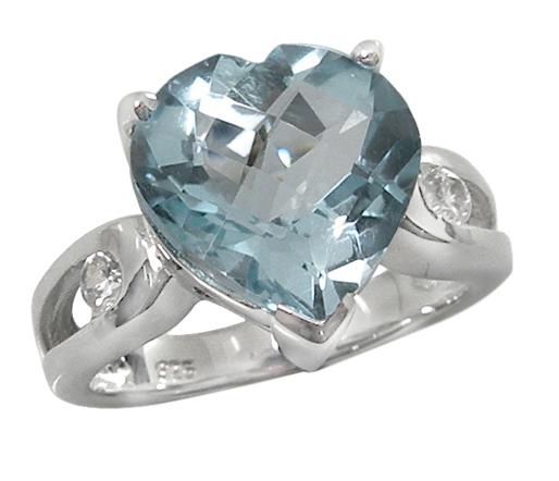Checkerboard Glacial Blue Topaz Stone Heart Ring in .925 Silver