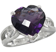 Checkerboard Heart-Shaped Amethyst Ring in Silver