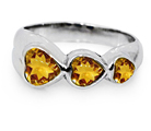 Three Heart Citrine Sterling Silver Ring