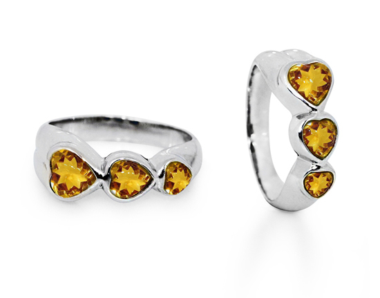 Three Heart Citrine Sterling Silver Ring