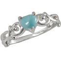 Heart-Shaped Larimar Ring in Silver