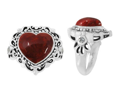Heart-Shaped Sponge Coral Ring in Silver