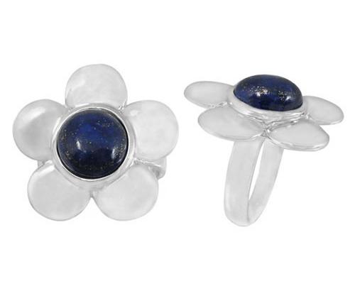 Lapis Lazuli Flower Ring in Silver
