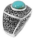 Large Design Turquoise Ring in Sterling Silver