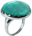 Large Round Amazonite Stone Ring in Silver