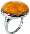 Large Round Amber Stone Ring in Silver