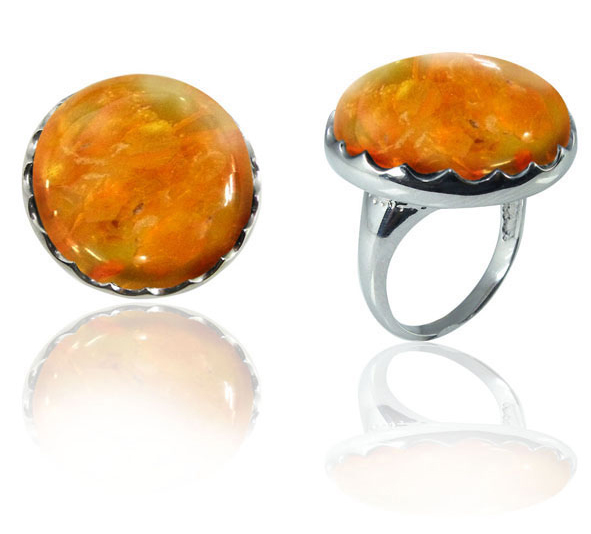 60s -70s Jewelry – Necklaces, Earrings, Rings, Bracelets Large Round Amber Stone Ring in Silver $75.00 AT vintagedancer.com