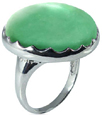 Large Round Chrysoprase Stone Ring in Silver