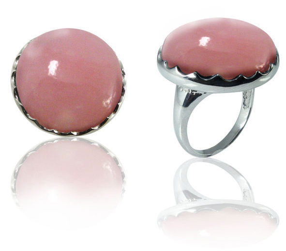 Large Round Pink Opal Ring in Sterling Silver