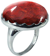 Large Round Sponge Coral Ring in Silver