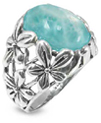 Larimar Flower Ring in Sterling Silver