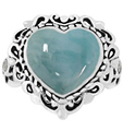 Larimar Heart Ring in Silver with White CZ
