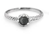 Natural Black Onyx Silver Twist Ring