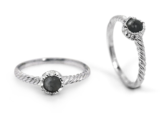 Natural Black Onyx Silver Twist Ring