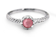 Natural Pink Opal Silver Twist Ring