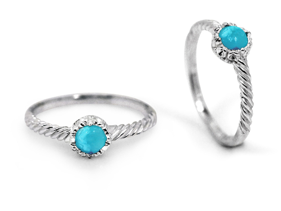 Natural Turquoise Silver Twist Ring
