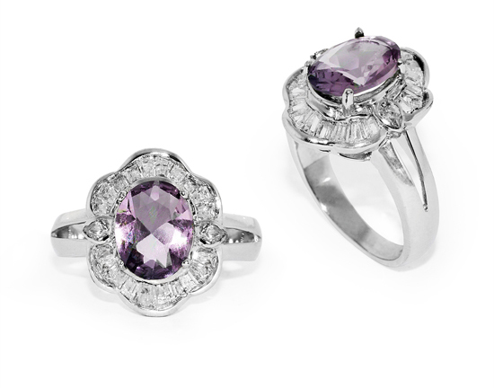 Oval Amethyst and Pear-Shaped CZ Ring in Silver