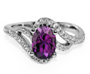 Oval Amethyst and White CZ Ring in Silver
