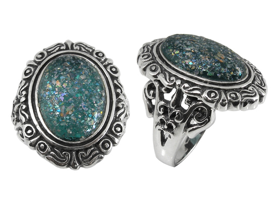 Oval Ancient Roman Glass Ring in Sterling Silver