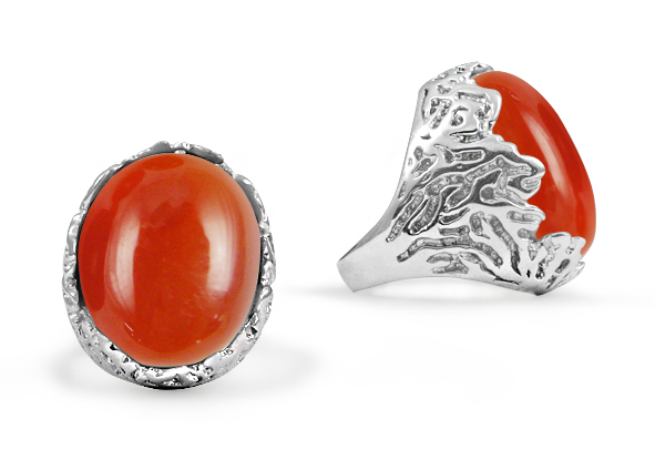 Oval Carnelian Stone Etched Ring in Sterling Silver