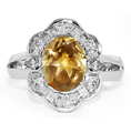 Oval Citrine and Pear-Shaped Silver CZ Ring