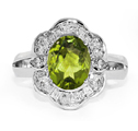 Oval Peridot and Pear-Shaped Silver CZ Ring