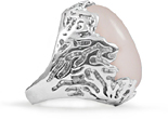Oval Peru Pink Opal Etched Silver Ring