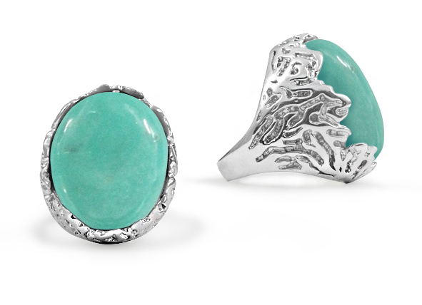 Oval Turquoise Etched Silver Ring