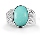 Silver Oval Turquoise Twist Ring
