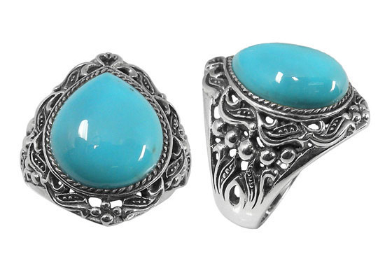 Vintage Style Jewelry, Retro Jewelry Pear-Drop Turquoise Ring in Silver $99.00 AT vintagedancer.com