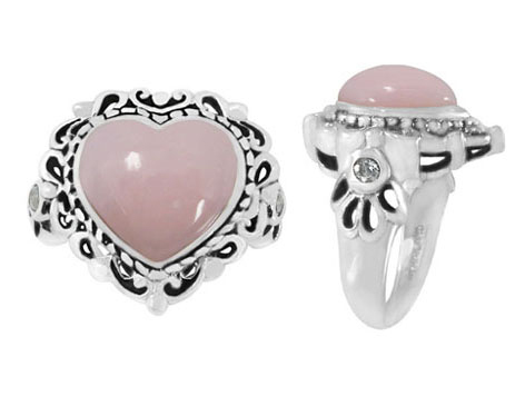 Pink Opal Heart-Shaped Ring in Silver