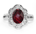 Red Garnet and Pear-Shaped Silver CZ Ring