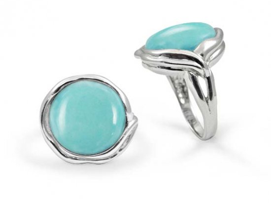 Round Design Turquoise Stone Ring, Sterling Silver